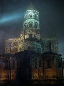 Basilique dans le brouillard